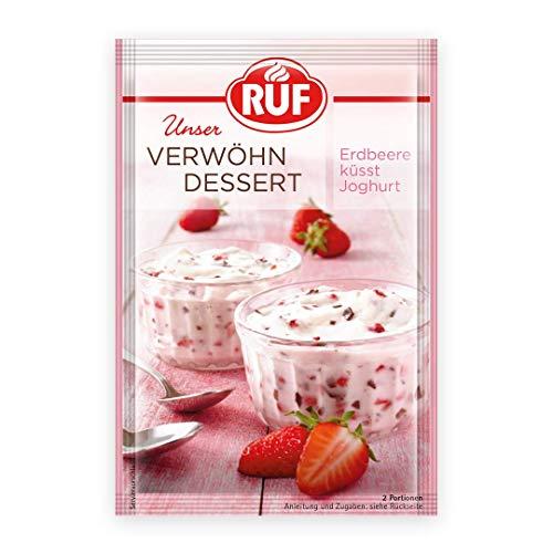 RUF Verwöhn Dessert Joghurt Erdbeer, fruchtig-frische Creme mit zarter Schokolade und Erdbeer Joghurt Geschmack, 13er Pack (13 x 70 g)