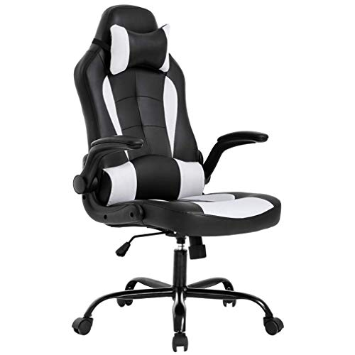 BestMassage Office Desk Gaming Chair High Back Computer Task Swivel Executive Racingchair for BackSupport with Lumbar Support Adjust Armrest (Racing Style Chair) (Renewed)