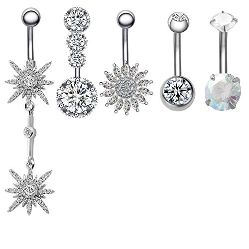 JDXN 5Pcs 14G Surgical Steel Belly Button Rings Clear CZ Flower Navel Rings Belly Rings For Women (Steel color)