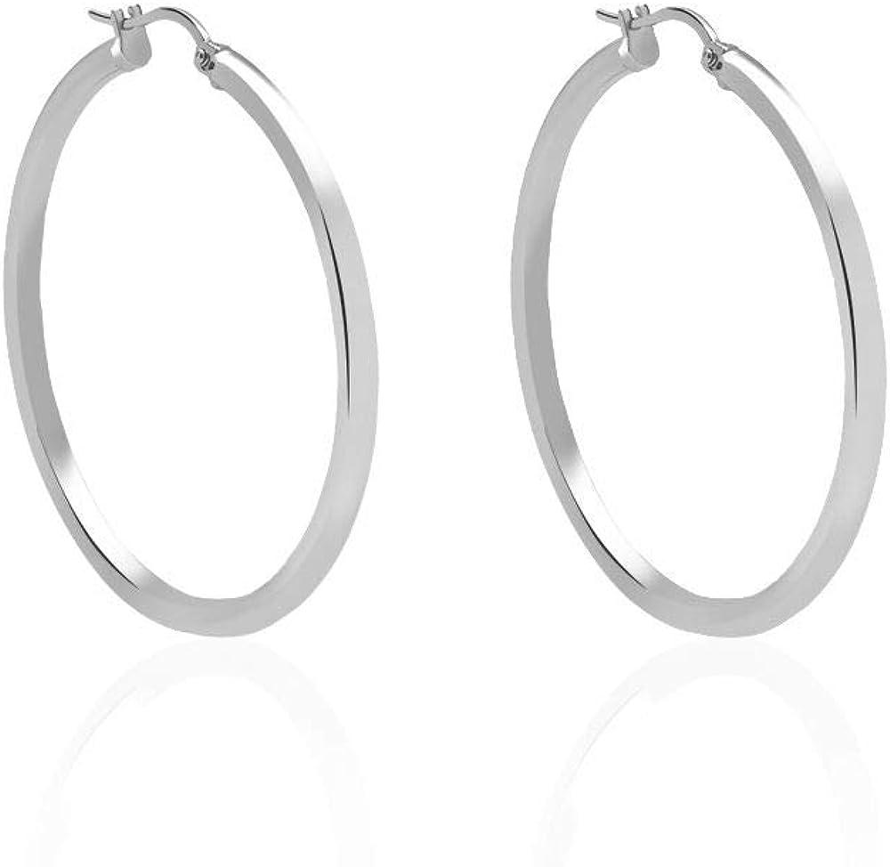 Stroili  orecchini per donna a cerchio in acciaio rodiato 1664561