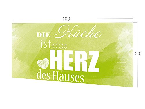 GRAZDesign Küchenrückwand Glas Die Küche ist das Herz des Hauses, Spritzschutz Küche Glas Spruch, Wandpaneele Küche grün / 100x50cm
