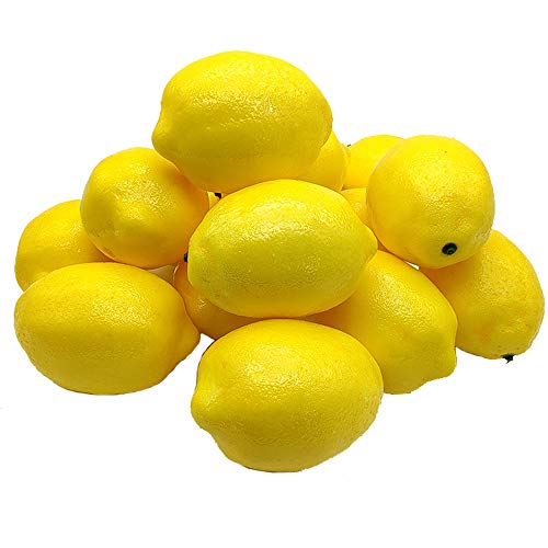 Aisamco 15 Stück Künstliche Zitronen 10cm x 7cm Kunstfrüchte Künstliche Gelbe Zitronen Schaum Zitrone für zu Hause Küche Gefälschte Obstschale Zitronen Kranz Girlande Dekoration