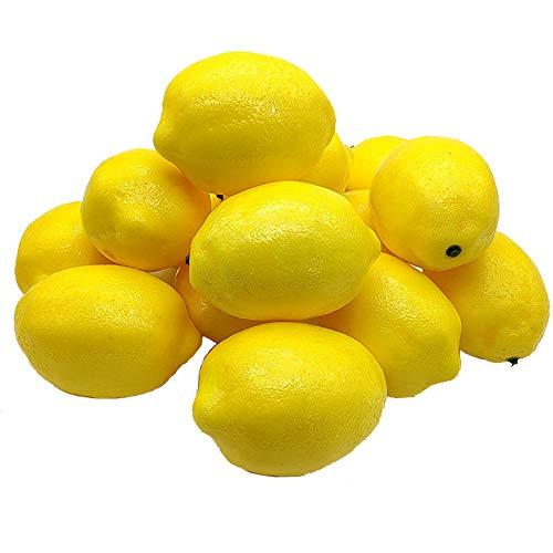 Aisamco 15 Piezas de Limones Artificiales de 10 cm x 7 cm de Frutas sintéticas, Limones Amarillos Artificiales, Espuma de limón para el hogar, Cocina, Guirnalda de Frutas, decoración