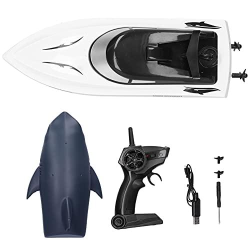 Pwshymi Barco de Control Remoto, Barcos de Carreras eléctricos, 2,4G, Barco RC, Barco de hélice de Doble Motor con Cabeza en Forma de tiburón para niños