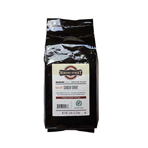 Verena Street 5 Pound Whole Bean, Swiss Water Process Decaf Beans, Sunday Drive Decaffeinated, Medium Roast Rainforest Alliance Certified Arabica Coffee