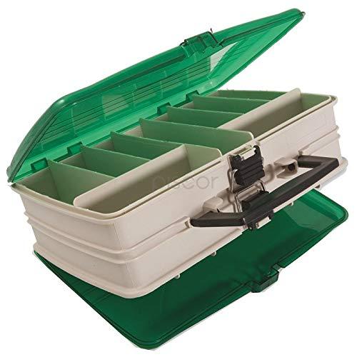 Lineaeffe Boîte 2 Couvercles 2 32 x 21 x 11 cm Boîte de Pêche Rangement Accessoire Leurre Hameçon Compartiment Plastique