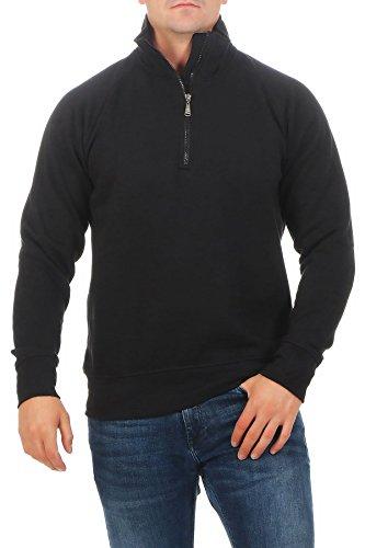 Happy Clothing Herren Pullover halber Reißverschluss ohne Kapuze, Farbe:Schwarz, Größe:3XL