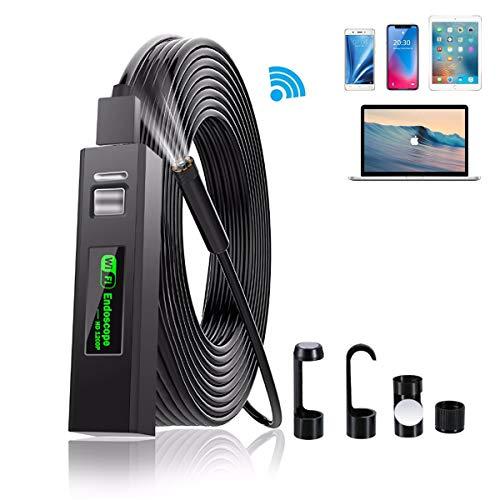 DDENDOCAM Cámara de inspección Endoscopio Wireless WiFi Boroscopio USB 1200P HD Snake Camera para Android iOS iPhone Windows Mac Tablet PC (2M)