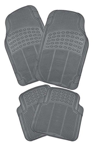 Zento Deals 4 Piece Gray Universal Fit Premium Quality Full Rubber-All Weather Heavy Duty Vehicle Floor Mats