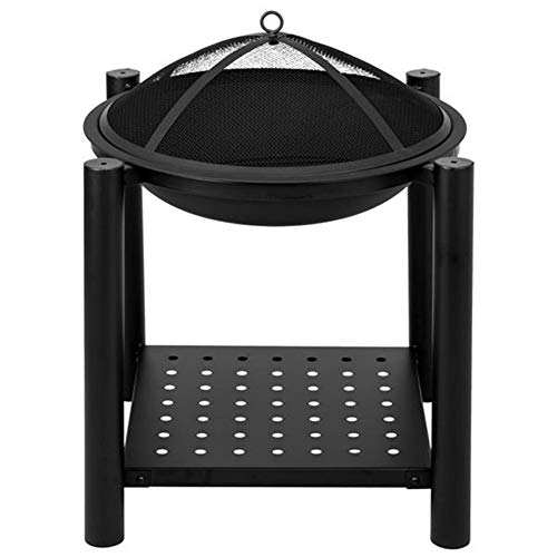 Learn More About NYH 20 Inch Large Durable Steel Outdoors Fire Pit with Protective Mesh Spark Guard,...
