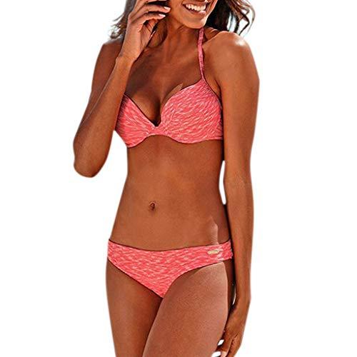 Damen Brazilian Push Up Bikini Set Drucken Mit Bikini Neckholder Triangel-Bikini-Top Und Sexy Brasil Bikini Bikinihose Bottom Geteilter Zweiteiliger Badeanzug TWBB