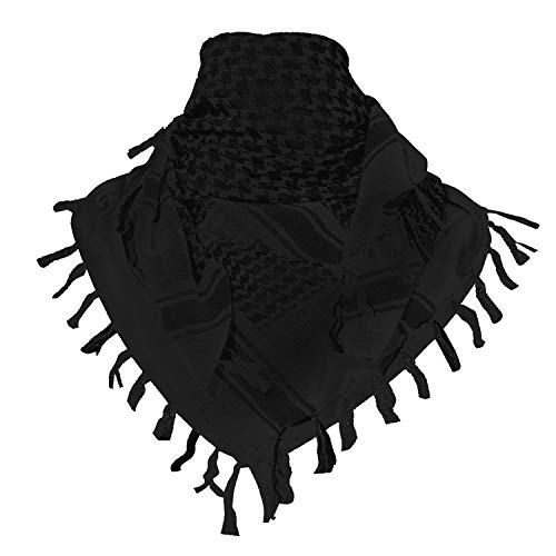 TACVASEN Men's Cotton Military Shemagh Head Neck Tactical Scarf Arab Wrap Black