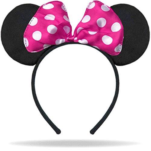 Hatstar Haarreifen mit Maus Ohren | Mouse Ears in schwarz mit Schleife in pink und weißen Punkten für Erwachsene