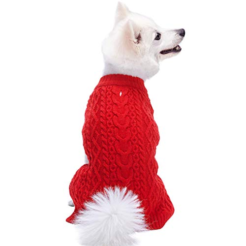 Blueberry Pet Classic Wool Blend Cable Knit Pullover Dog Sweater in Red Danger, Back Length 12', Pack of 1 Clothes for Dogs