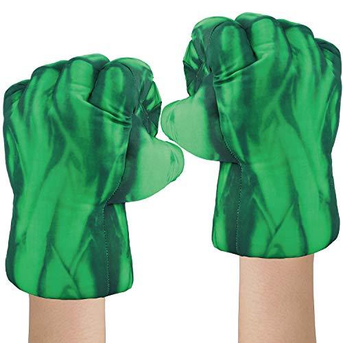 ELITEVER Incredible Smash Fists Gloves Plush Hands, Toddler Superhero Toy Gloves Green
