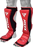 RDX Shin Guards for Kickboxing, Muay Thai, MMA Training and Fighting, Maya Hide Leather Instep Leg Protective Gear, Protector Pads for Martial Arts, Sparring, BJJ and Boxing