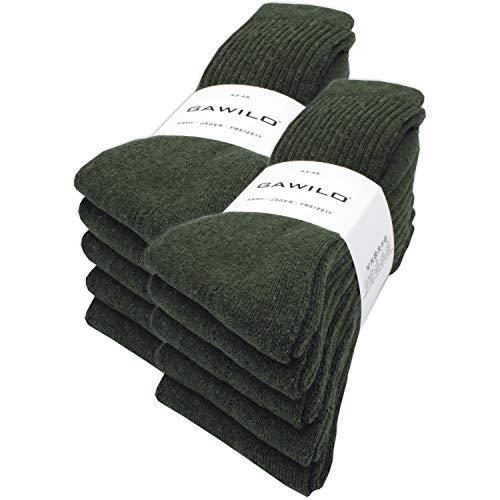 10 Paar stabile Army - Jäger - Freizeit Socken aus strapazierfähiger Baumwolle (47-50, Grün)