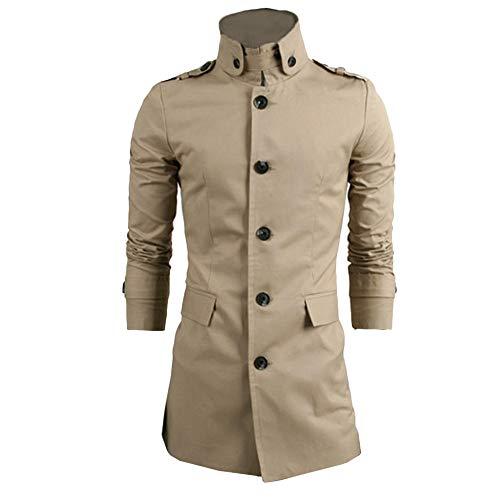 KPILP Herren Revers Jacke Gut Aussehend Warme Winter Trench Long Outwear Knopf Woolen Dünnen Langen Smart Mantel(Türkis, XL)