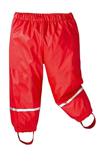Kinder Regenlatzhose, Matschhose, Buddelhose mit FleecefutterFleece Wasserdicht, Rot, Gr. 98-104