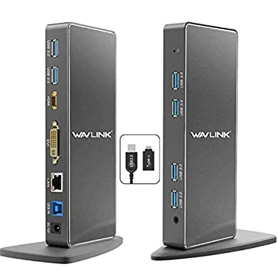 Wavlink USB 3.0 Dual Display Docking Station for Windows,Universal Dock with 6 USB Ports Supports HDMI/DVI/VGA, Gigabit Ethernet, Audio In/Output, Not Compatible Mac OS and Linux