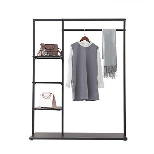 YLiansong-home Garment Rack Robust Hanging Rail 4-Tier Freestanding Metallo Indumento Rack con Ripiani a Giorno Armadio Guardaroba dell'organizzatore di immagazzinaggio per Cappotti