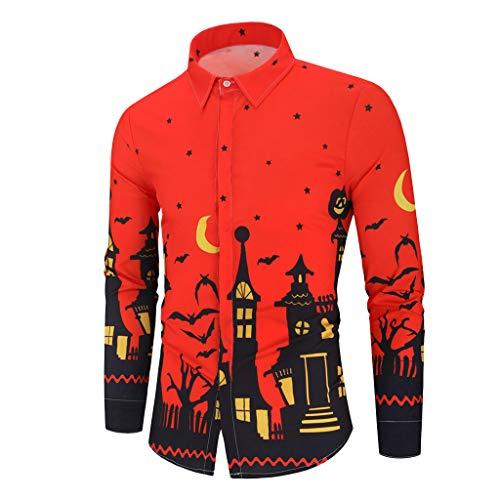 Fenverk Halloween Männer Bluse Trachten Oktoberfest Herren-Hemd Slim-Fit Langarm-Hemden MusteräRmel Slim Fit Kontrast Langarm-Hemd Alabama (A rot,XL)