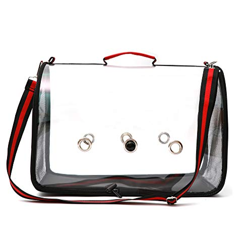 Ourine Lightweight Bird Carrier Cage Lightweight Bird Carrier Cage Transparente PVC Breathable Parrots Carrier Travel Bag Cage Black & Red