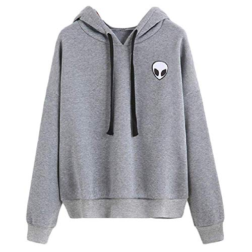 GERPY Casual Alien Print Harajuku Mujeres Sudaderas con Capucha Sudaderas con Capucha Larga Algodón Pullover Femme Solid Plus Taille Flat Cut E