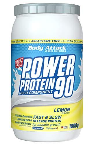 Body Attack Power Protein 90, Lemon Curd Cream, 1 kg, 5K Eiweißpulver mit Whey-Protein, L-Carnitin und BCAA für Muskelaufbau und Fitness
