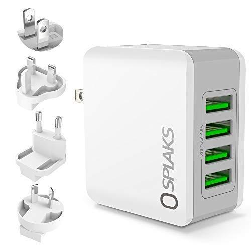 Omew Cargador USB, Adaptador Universal de Corriente Pared 4 Puertos 24 W/5 V 4.8 A EU + US Plugs Cargador Sector portátil Tablet rápida para iPhone, Galaxy S8, LG, Sony, Android-Blanco