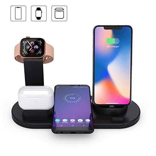 3 in 1 Stazione di ricarica wireless compatibile con Dock Air Pods,AirPods serie iWatch 1 2 3 4,Supporto di ricarica rapida Qi per iPhone 11 Pro Max 8