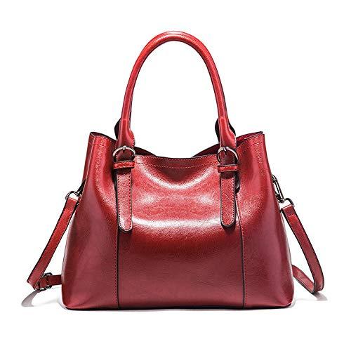 LINJIANG Bolso De Cuero De Cera De Aceite para Mujer Bolsos De Gran Capacidad De Moda Bolso De Mano Bolso De Hombro Rojo Vino