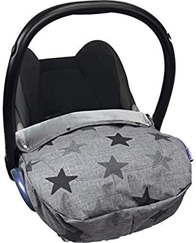Original Dooky Cosy Top Grey Stars Fußsack für Babyschale wind- und wasserabweisend mit Microfaser-Fütterung für Altersgruppe 0+, grau