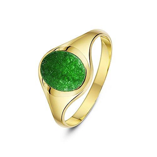 Theia Herren Siegelring 9 Karat Gelbgold, Ovaler, Set mit grünem Jadestein 10 x 8mm, Größe 50 (15.9)