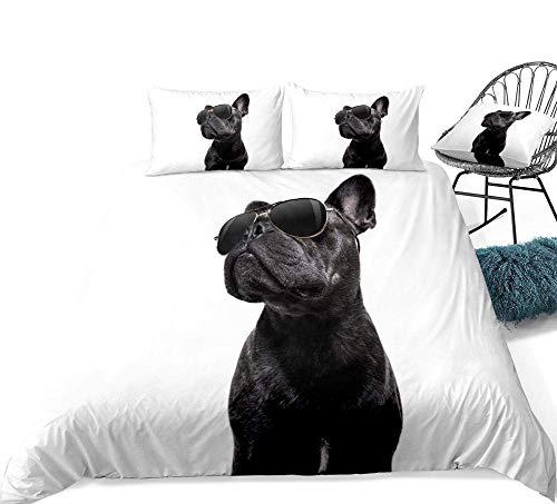 GeGe Juegos de Cama Impresión 3D 3 Piezas Juego de Funda nórdica 3D para Perro Negro Bulldog con Gafas de Sol Textiles para el hogar Funda de edredón Blanco Animal Teens Pet 3 Piezas