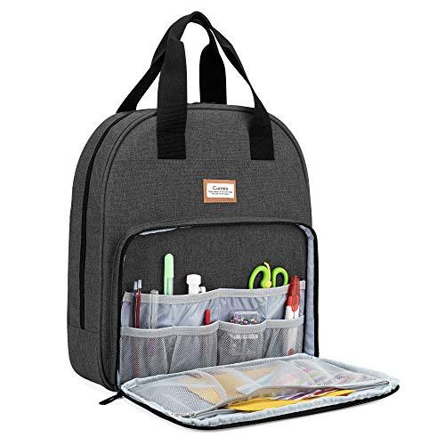 CURMIO Bolsa de kit de bordado, bolsa de transporte portátil para herramientas de punto de cruz y proyectos de bordado, bolsa de almacenamiento de suministros de bordado ideal para, Negro
