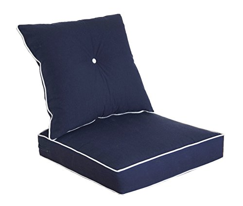 Bossima Cushions for Patio Furniture, Outdoor Water Repellent Fabric, Deep Seat Pillow and High Back Design, Navy Blue