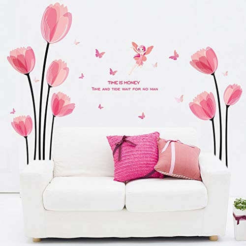 Pink Tulip Flower Wall Stickers Vinyl Diy Art Murales de pared para sala de estar Sofá Fondo Decoración para el hogar Tatuajes