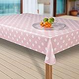laro Wachstuch-Tischdecke Abwaschbar Garten-Tischdecke Wachstischdecke PVC Plastik-Tischdecken Eckig Meterware Wasserabweisend Abwischbar G03, Muster:Punkte rosa-Weiss, Größe:85x85 cm