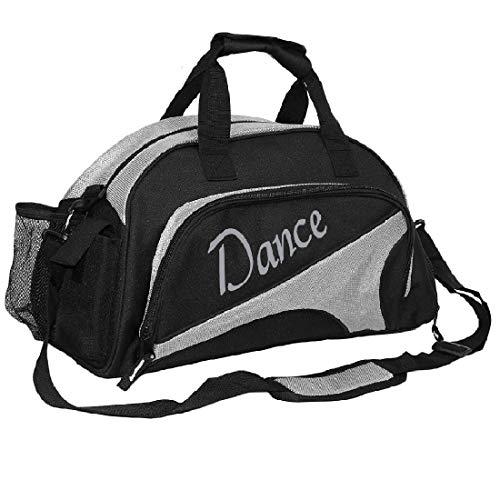 kilofly Girl's Ballet Dance Sports Gym Duffel Bag Travel Carry On + Handy Pouch, Silver,...