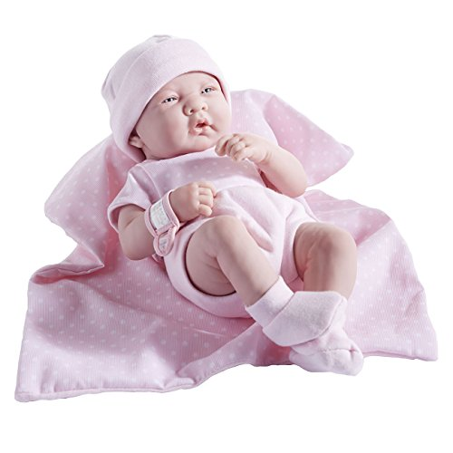 Jc Toys 102-18541 - Muñeca niña, Cuerpo de goma vestido rosa con lunares, 36 cm , color/modelo surtido