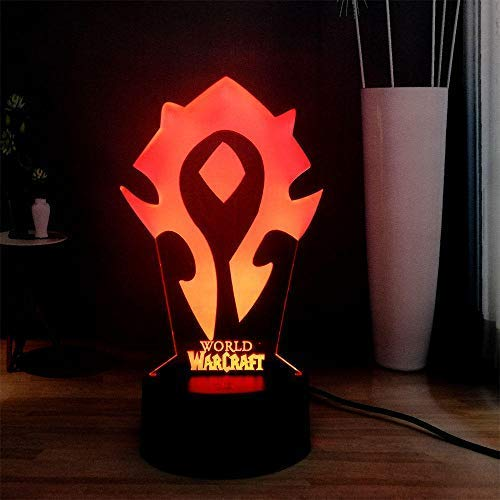 Wow 3D Visual Lámpara De Mesa World Of Warcraft The Horde Logo Rgb 7Colorful Usb Mini Lámpara Led Mesita De Noche Sleep Night Light Lámpara De Vacaciones