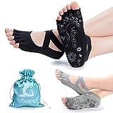 Muezna Calcetines de Yoga Antideslizantes para Mujer, sin Dedos para Pilates, Barra, Ballet, Bikram, con Buena Postura
