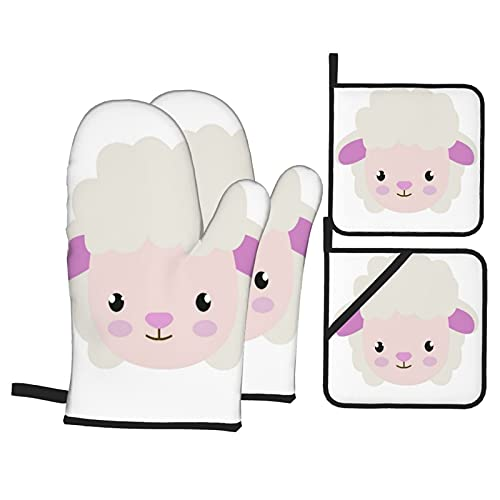 ASNIVI Oven Mitts and Pot Holders 4pcs Sets,Baby Cute Little Sheep Animal Character Drawing Adorable Cartoon Cheerful Clip,Kitchen Oven Glove and Hot Pads High Heat Resistant for Baking, BBQ, Cooking