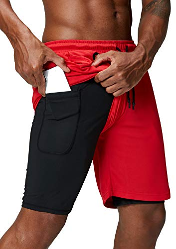 Pinkbomb Men's 2 in 1 Running Shorts Gym Workout Quick Dry Mens Shorts with Phone Pocket (Red, Large)