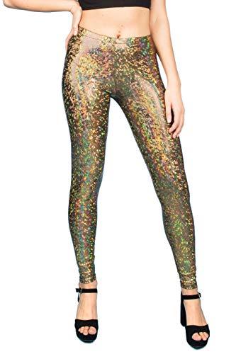 MADWAG Leggings holográficos para mujer - Negro/Dorado Claro/Oro Oscuro/Plata - Pantalones de Festival Brillantes Brillantes