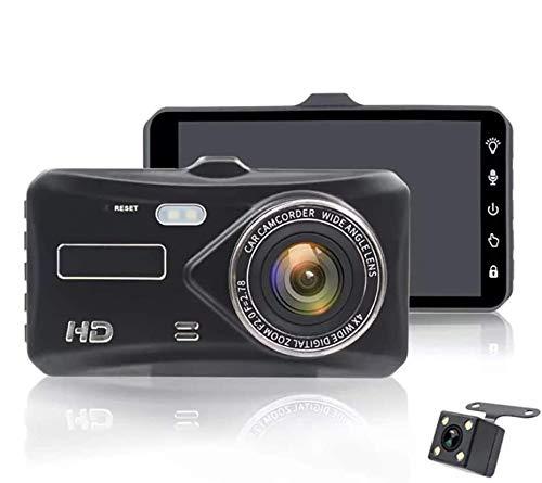 HTQING Cámara Dashcams para Coches Delanteros Y Traseros 1080P 4 '' Pantalla Táctil IP66 Impermeable HDR Grabación En Bucle Monitor De Estacionamiento Detección De Movimiento Pantalla Táctil