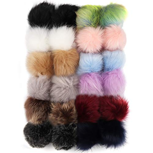 Belle Vous Pompones de Pelo (24 Piezas) - (2 Piezas de Cada Color) 8cm Pompones de Colores con Banda Elástica para Tejer Gorros, Bufandas, Llaveros, Bolsas, Zapatos, Accesorios, Manualidades