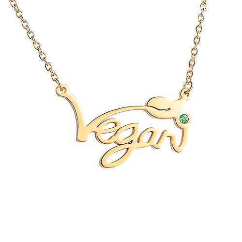 Tornado Collar vegano con símbolo vegetariano de acero inoxidable y símbolo vegano para regalo para vegetarianos