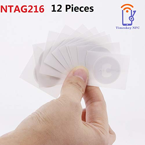 12 PCS NTAG216 NFC Tags Stickers, NXP NTAG NFC 216 Stickers 888 Bytes Memory,25mm NFC Tag Fully Programmable for All NFC Enabled Devices, Guaranteed by TimesKey